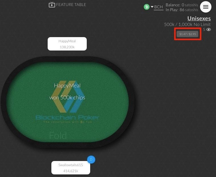 A Blockchain Poker HU table with its stakes in USD highglighted