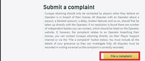 How to submit a complaint to Curacao license