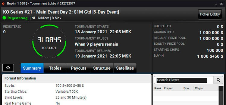 partypoker KO Series Main Event