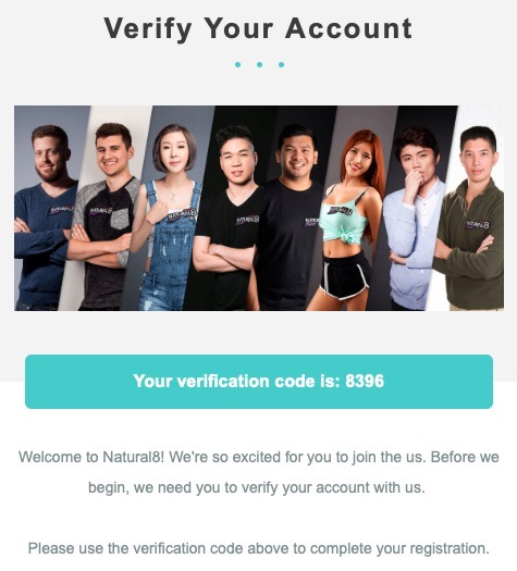Natural8 Verify Account