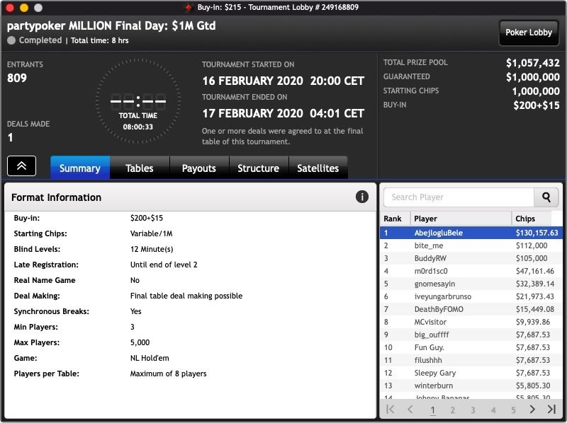 partypoker MILLION lobby