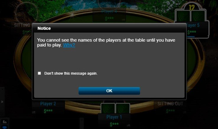 Message informing about player protection at PokerKing