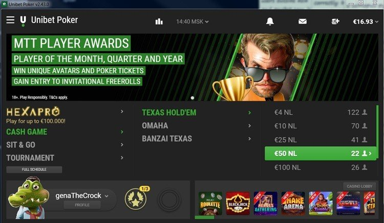 UNibet poker lobby with cash games, tournaments, and Hexapro